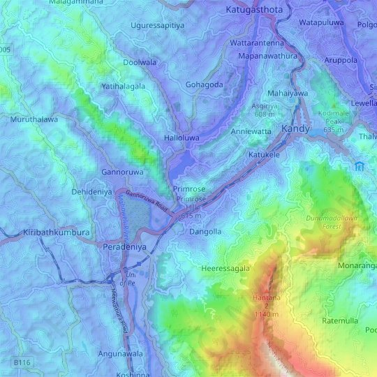 Primrose topographic map, elevation, relief