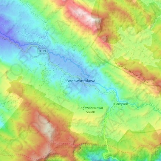 Bogawantalawa topographic map, elevation, relief