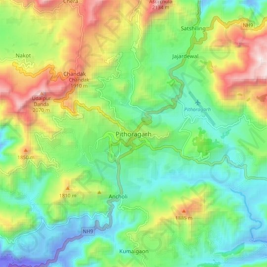 Pithoragarh topographic map, elevation, relief