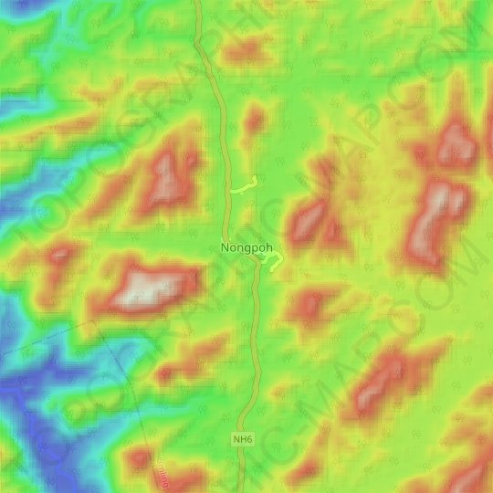 Nongpoh topographic map, elevation, relief