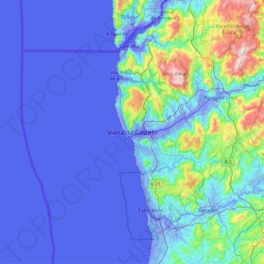 Viana Do Castelo Topographic Map Relief Map Elevations Map