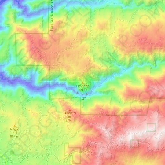 Elevation topographic map, elevation, relief