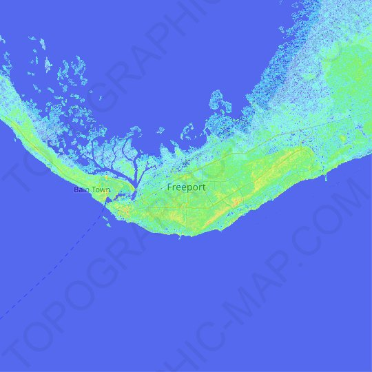 Freeport topographic map, relief map, elevations map