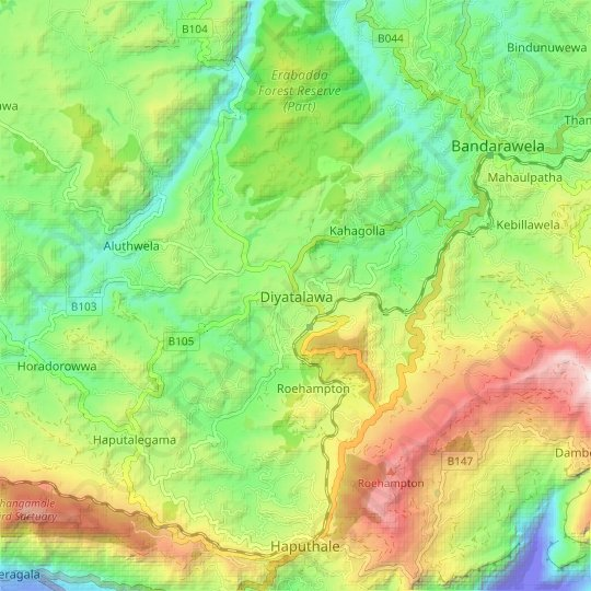 Diyatalawa topographic map, elevation, relief