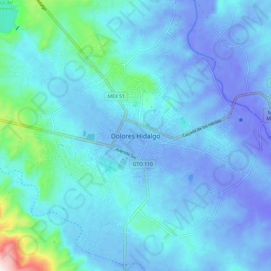 Dolores Hidalgo topographic map, relief map, elevations map