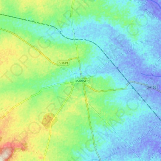 Madha topographic map, elevation, relief