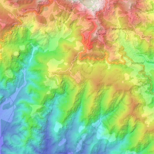 Patwa Dangar topographic map, elevation, relief