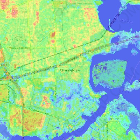 Channelview topographic map, relief map, elevations map on map of downtown houston area, map of liberty hill area, map of port of houston area, map of big bend national park area, map of nome area, map of galveston area, map of kemah area, map of baytown area, map of greenspoint area, map of fort hood area, map of lake travis area, map of college station area,