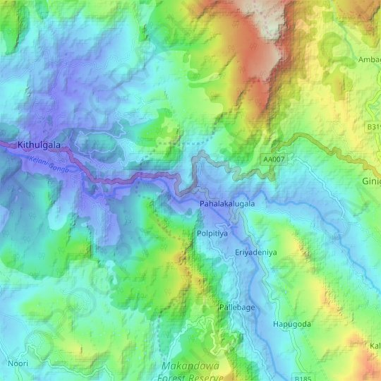 Kalugala topographic map, elevation, relief