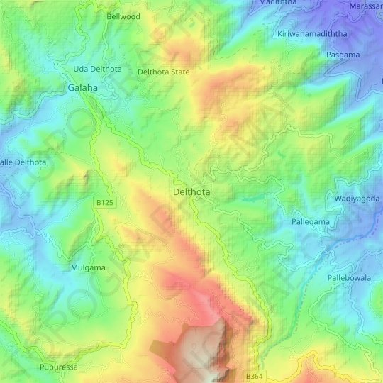 Delthota topographic map, elevation, relief