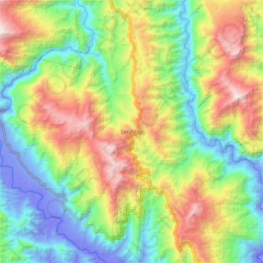 Serchhip topographic map, elevation, relief