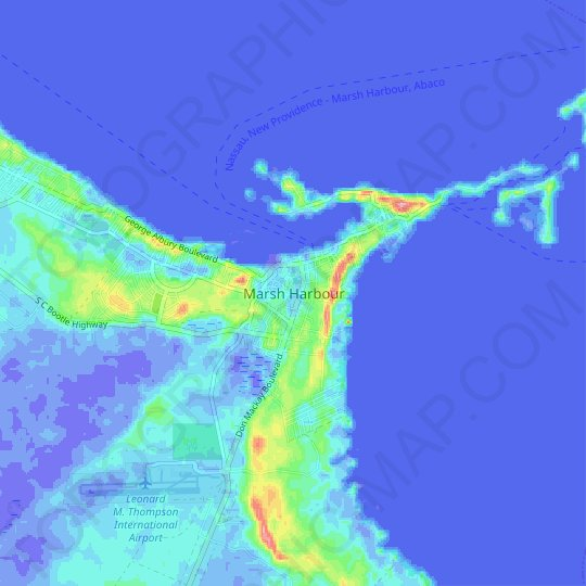 Marsh Harbour topographic map, relief map, elevations map