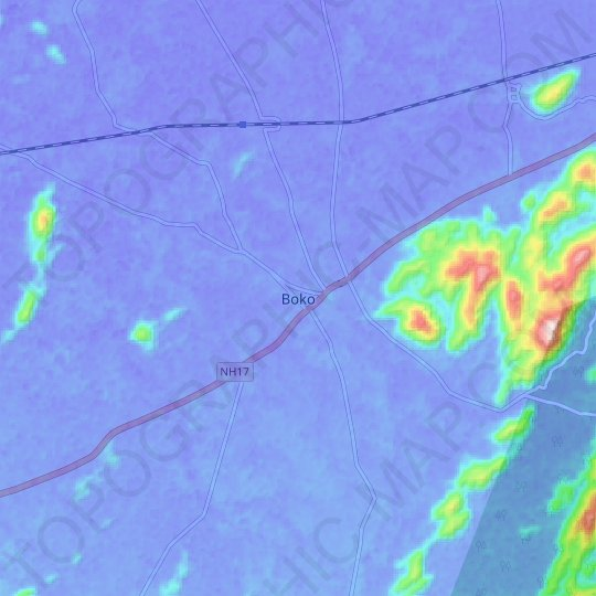Boko topographic map, elevation, relief