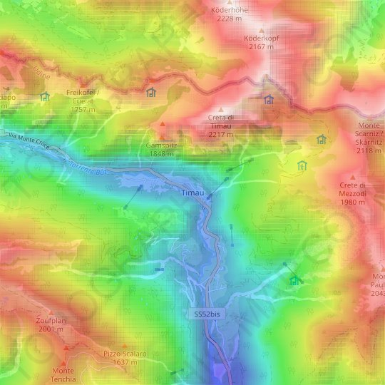 Timau topographic map, relief map, elevations map