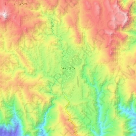 Surutato topographic map, relief map, elevations map