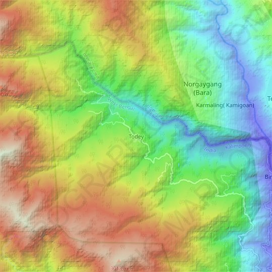 Todey topographic map, elevation, relief
