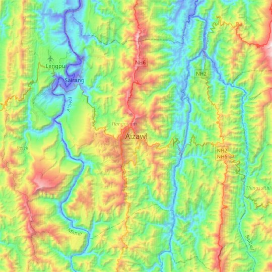 Aizawl topographic map, elevation, relief