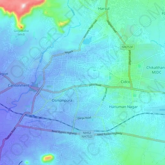 Aurangabad topographic map, relief map, elevations map