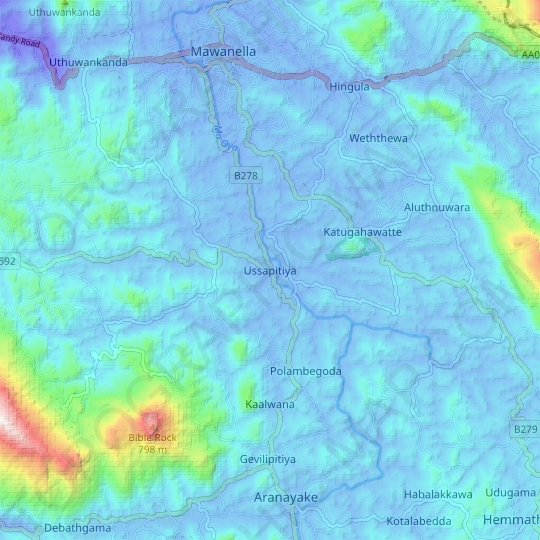 Ussapitiya topographic map, elevation, relief