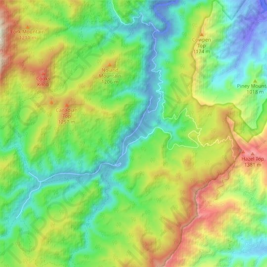 Cataloochee topographic map, elevation, relief