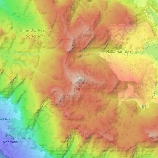 Adam's Peak topographic map, elevation, relief
