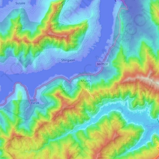 Palase topographic map, elevation, relief