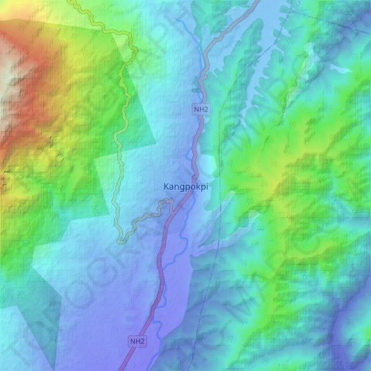Kangpokpi topographic map, elevation, relief