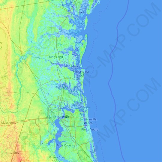 Amelia Island topographic map, relief map, elevations map