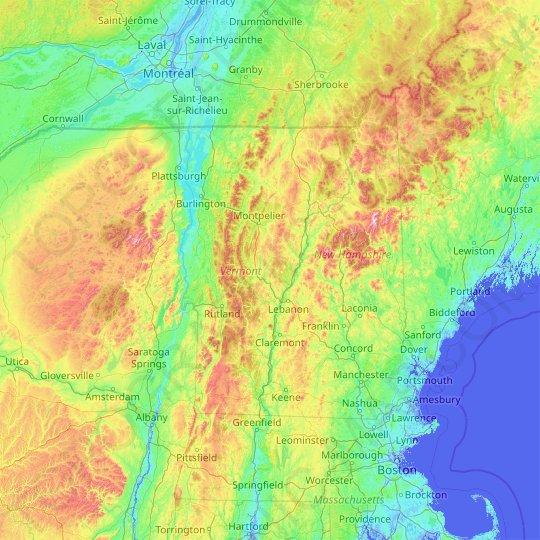 Vermont topographic map, elevation, relief