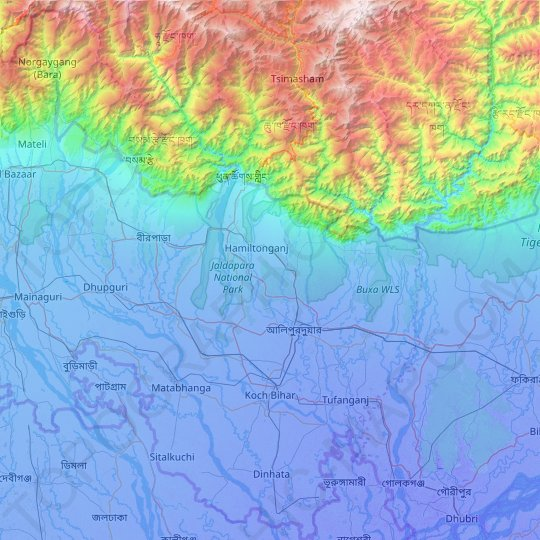 Alipurduar topographic map, elevation, relief