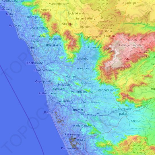 Malappuram topographic map, elevation, relief