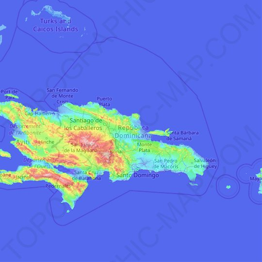 Dominican Republic topographic map, relief map, elevations map