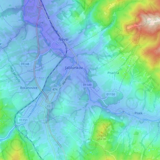 Jablunkov topographic map, relief map, elevations map