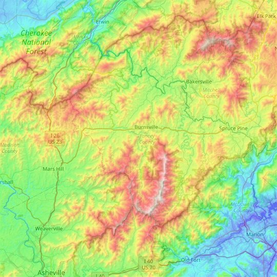Yancey County topographic map, elevation, relief