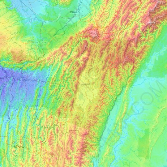 Manipur topographic map, elevation, relief