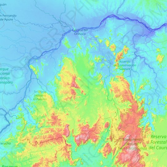 Municipio Cedeño topographic map, relief map, elevations map