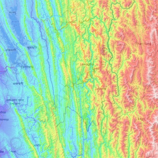 Lawngtlai topographic map, elevation, relief