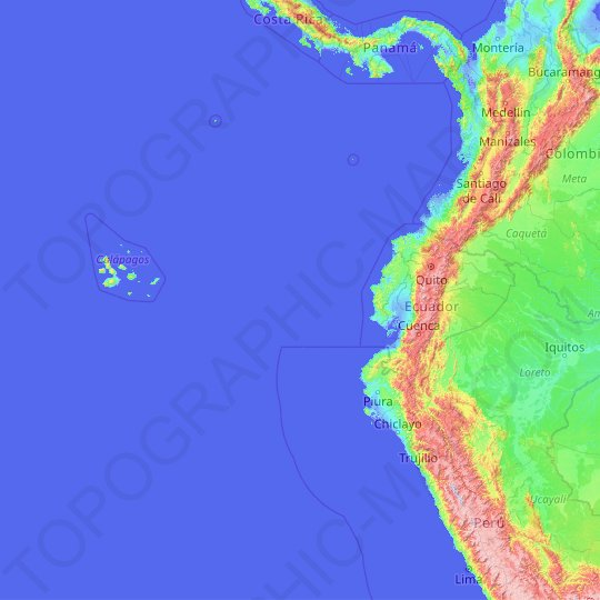Ecuador topographic map, relief map, elevations map