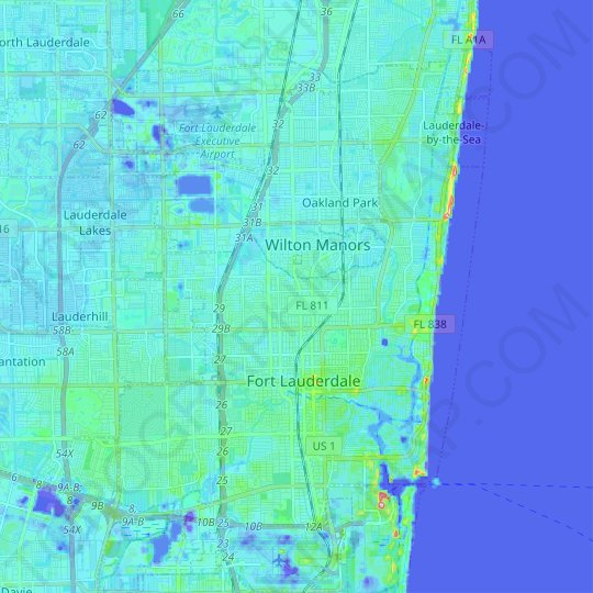 Fort Lauderdale topographic map, relief map, elevations map