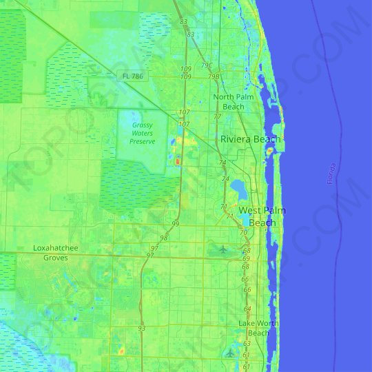 West Palm Beach topographic map, relief map, elevations map