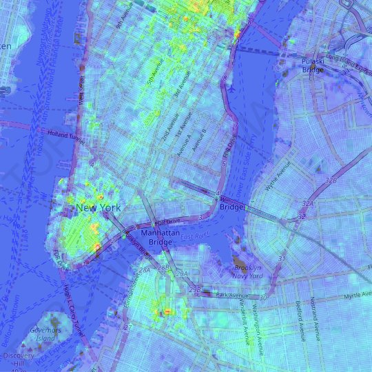Lower East Side topographic map, relief map, elevations map