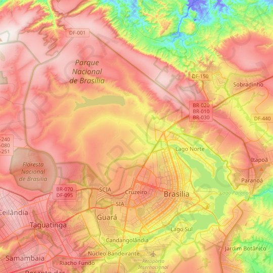 Plano Piloto topographic map, relief map, elevations map