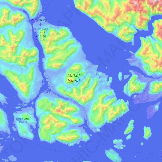 Mitkof Island topographic map, relief map, elevations map