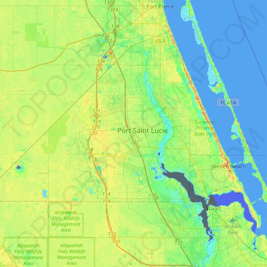 Port St. Lucie topographic map, relief map, elevations map