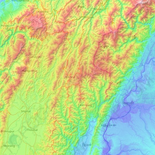 Ukhrul topographic map, elevation, relief