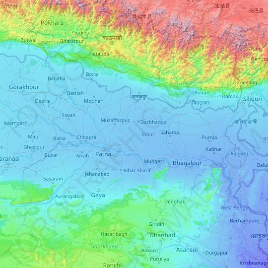Bihar topographic map, elevation, relief