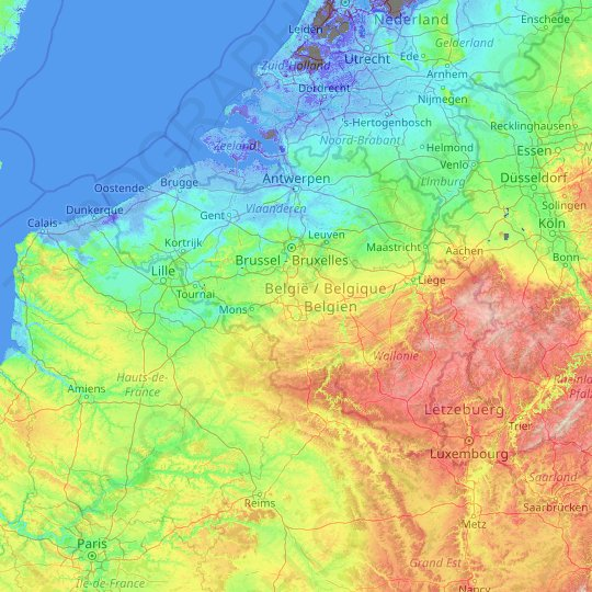 Belgium topographic map, relief map, elevations map