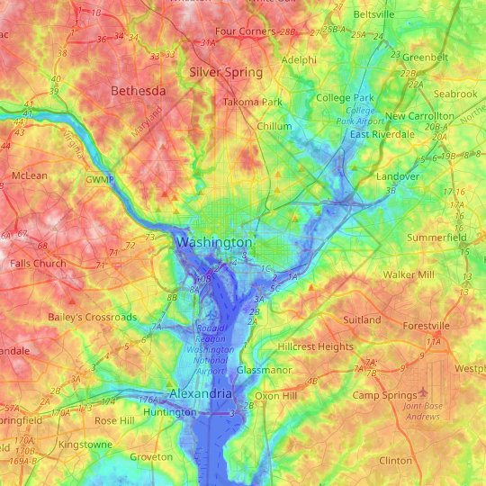 topographic map of washington dc Washington D C Topographic Map Elevation Relief