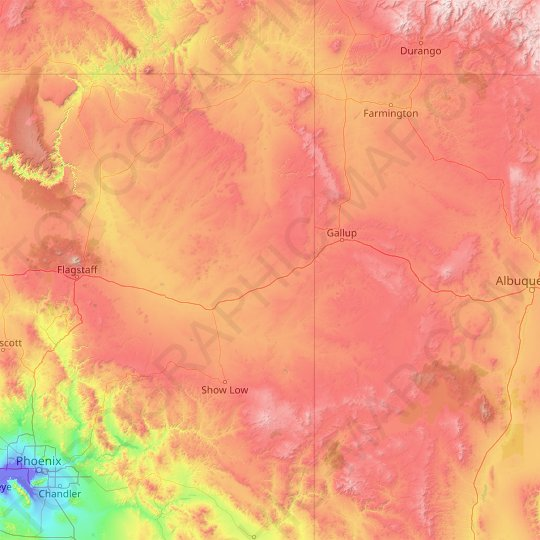 Apache County topographic map, relief map, elevations map