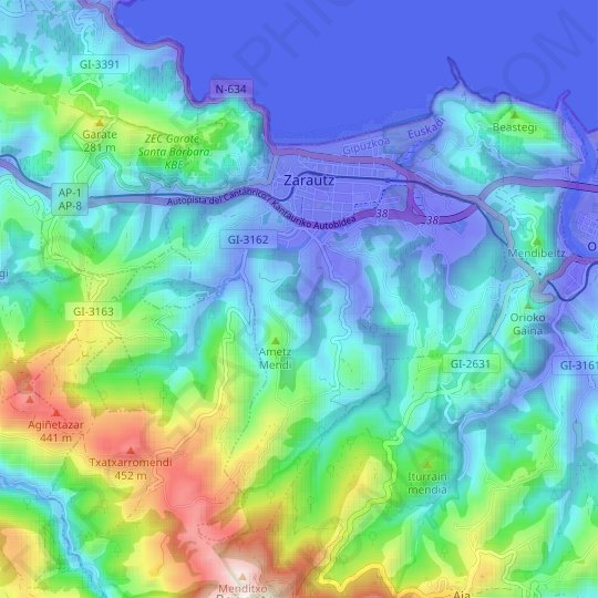 Zarauz topographic map, relief map, elevations map